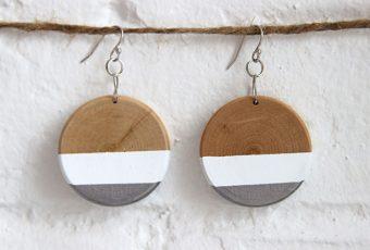 Paint Dipped Wood Earrings