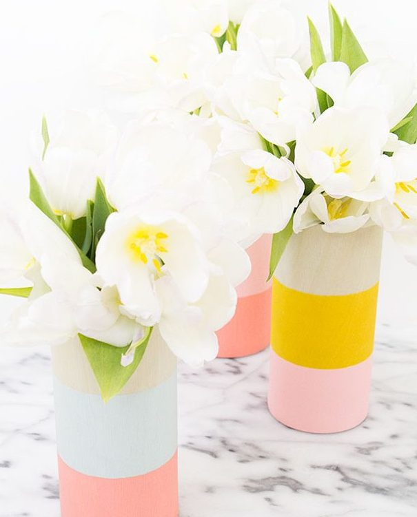 Color Blocked Wood Vases