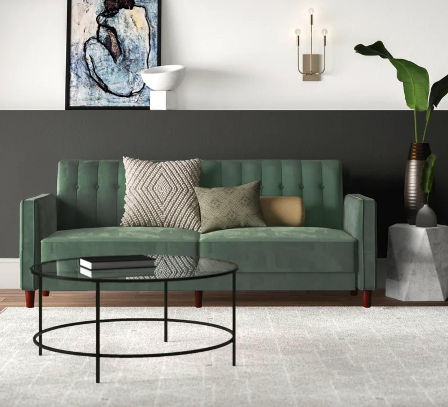 Imani Velvet Wide Square Arm Convertible Sofa